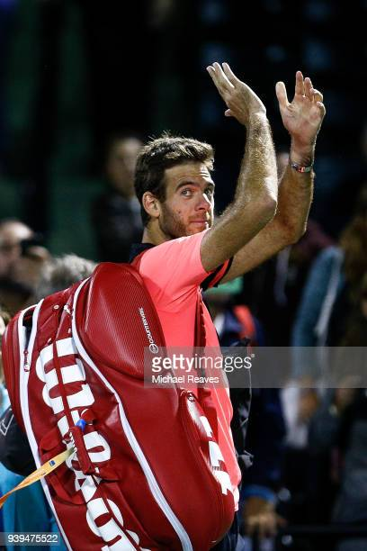 Juan Martin Del Potro of Argentina waves goodbye to the crowd after defeating Milos Raonic of Canada in the quarterfinal match on Day 10 of the Miami...