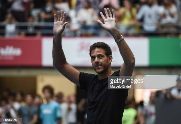 Juan Martin Del Potro of Argentina waves to fans before an exhibition game between Alexander Zverev and Roger Federer at Arena Parque Roca on...