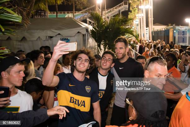Juan Martin Del Potro of Argentina with fans after his win against Jeremy Chardy of France at the Delray Beach Open held at the Delray Beach Stadium...