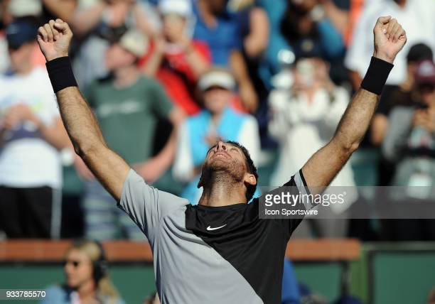 Juan Martin Del Potro reacts on court after Del Potro defeated Roger Federer to become the 2018 BNP Paribas Open Champion after a finals match played...
