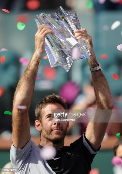 Juan Martin Del Potro with the winners trophy after defeating Roger Federer to become the 2018 BNP Paribas Open Champion after a finals match played...