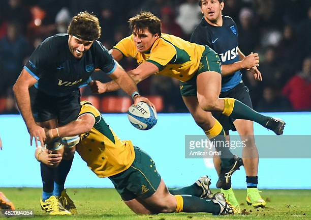 Juan Martin Fernandez Lobbe of Argentina and Adam AshleyCooper of Australia in action during a match between Australia and Argetina as part of The...