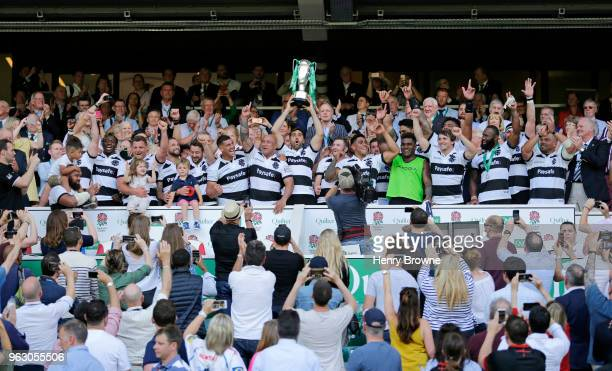 Juan Martin Fernandez Lobbe of Barbarians lifts the trophy after winning the Quilter Cup match between England and Barbarians at Twickenham Stadium...
