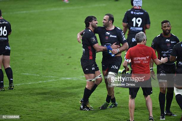 Juan Martin Fernandez Lobbe of Toulon and Mamuka Gorgodze of Toulon celebrates his victory during the French Top 14 rugby union match between Pau v...