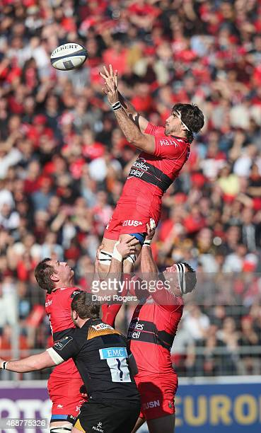 Juan Martin Fernandez Lobbe of Toulon wins the lineout during the European Rugby Champions Cup quarter final match between RC Toulon and Wasps at the...