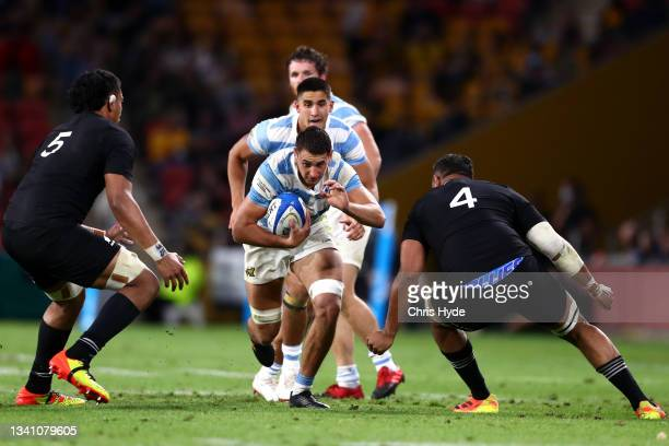 Juan Martin Gonzalez Samso of Argentina charges forward during The Rugby Championship match between the Argentina Pumas and the New Zealand All...