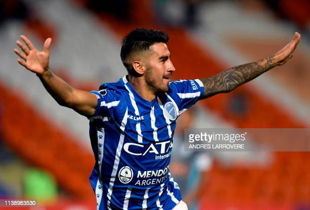 Juan Martin Lucero of Argentina's Godoy Cruz celebrates after scoring against Peru's Sporting Cristal during their Copa Libertadores 2019 group C...