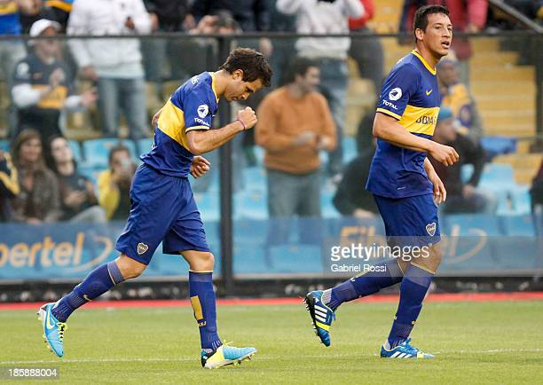 Juan Martinez of Boca Juniors celebrates the second goal during a match between Boca Juniors and Colon as part of the 13th round of the Torneo...