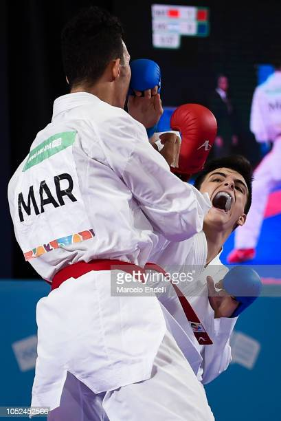 Juan Martinez Salsench of Argentina competes against Yassine Sekouri of Morocco in the during day 12 of Buenos Aires 2018 Youth Olympic Games at...