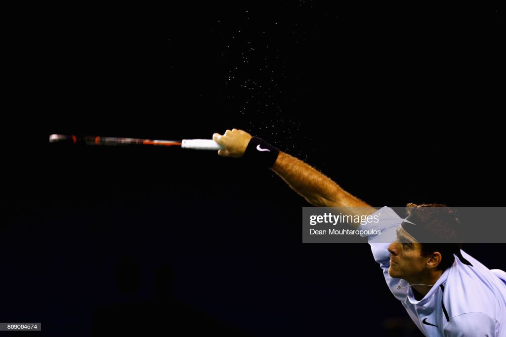 Juan Martín del Potro of Argentina serves against Joao Sousa of Portugal during Day 3 of the Rolex Paris Masters held at the AccorHotels Arena on November 1, 2017 in Paris, France.