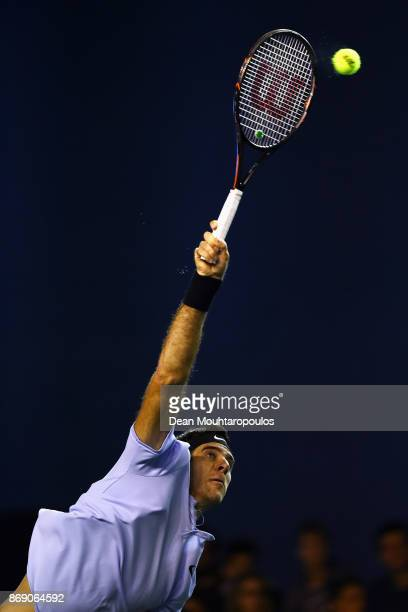 Juan Martín del Potro of Argentina serves against Joao Sousa of Portugal during Day 3 of the Rolex Paris Masters held at the AccorHotels Arena on...