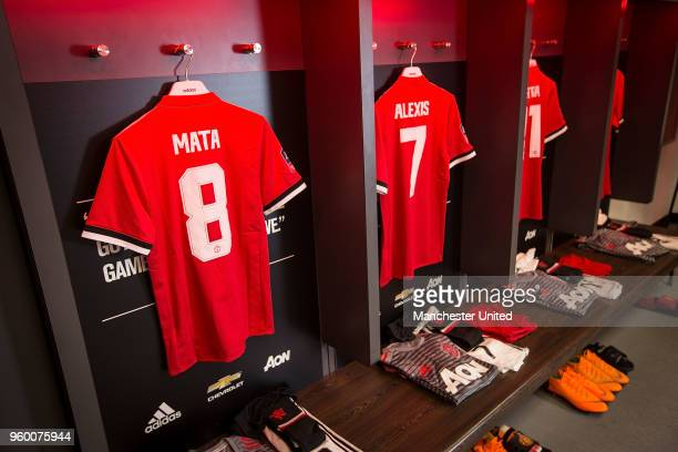Juan Mata and Alexis Sanchez of Manchester United shirts are laid out ahead of the Emirates FA Cup Final match between Manchester United and Chelsea...