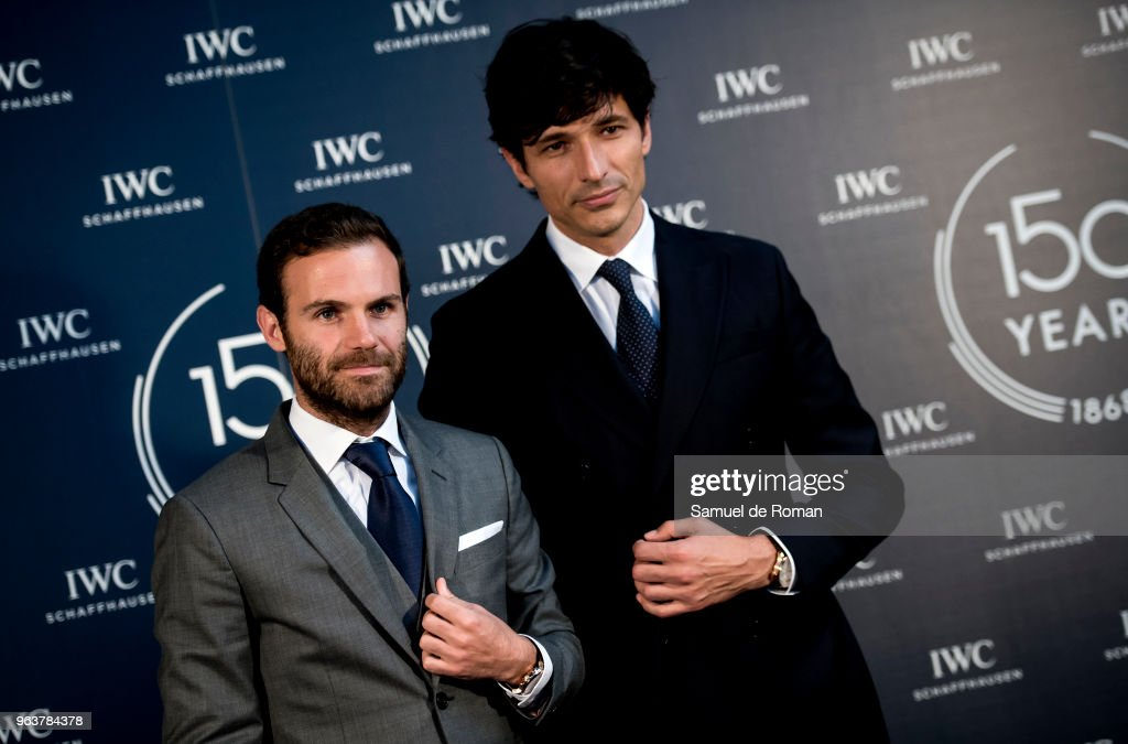 Juan Mata and Andres Velencoso attend 'IWC - Fuera de Serie' 150 Anniversary Party on May 30, 2018 in Madrid, Spain.