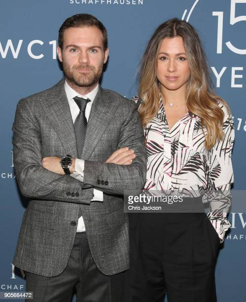 Juan Mata and Evelina Kamph visit the IWC booth during the Maison's launch of its Jubilee Collection at the Salon International de la Haute...