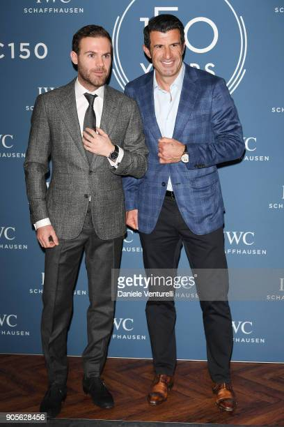 Juan Mata and Luis Figo are seen at IWC Schaffhausen at SIHH 2018 on January 16 2018 in Geneva Switzerland