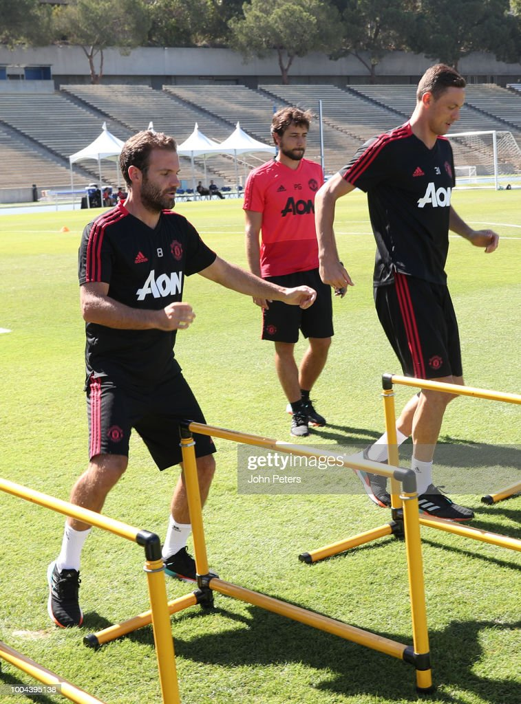 Juan Mata and Nemanja Matic of Manchester United in action during a Manchester United pre-season training session at UCLA on July 23, 2018 in Los Angeles, California.