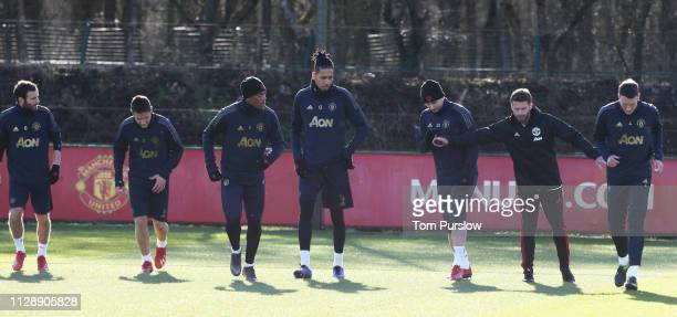 Juan Mata Ander Herrera Anthony Martial Chris Smalling Luke Shaw and Phil Jones of Manchester United in action during a first team training session...