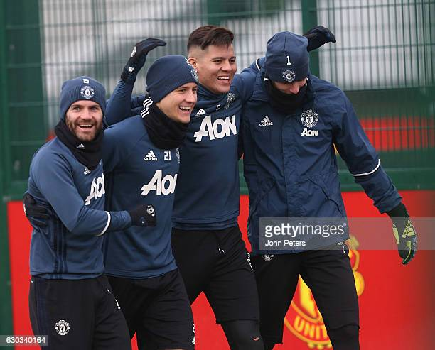 Juan Mata Ander Herrera Marcos Rojo and David de Gea of Manchester United in action during a first team training session at Aon Training Complex on...