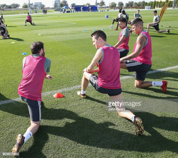 Juan Mata Ander Herrera Marcos Rojo and Jesse Lingard of Manchester United in action during a first team training session at Nad Al Sheba Sports...