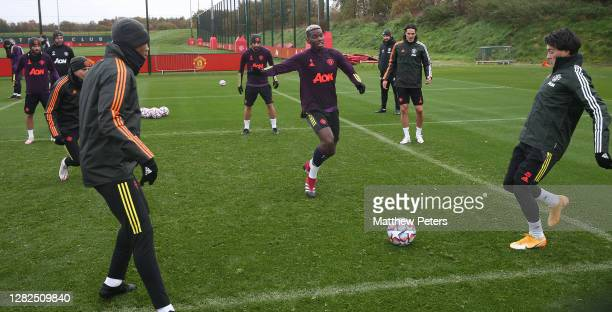 Juan Mata Anthony Martial Bruno Fernandes Paul Pogba Edinson Cavani Facundo Pellistri of Manchester United in action during a first team training...