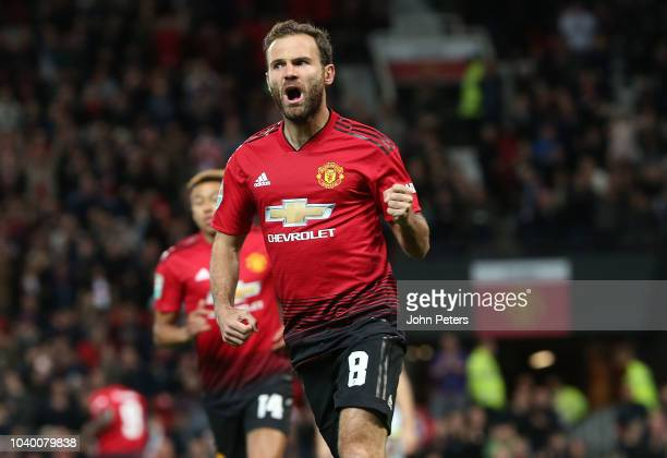 Juan Mata celebrates scoring their first goal during the Carabao Cup Third Round match between Manchester United and Derby County at Old Trafford on...