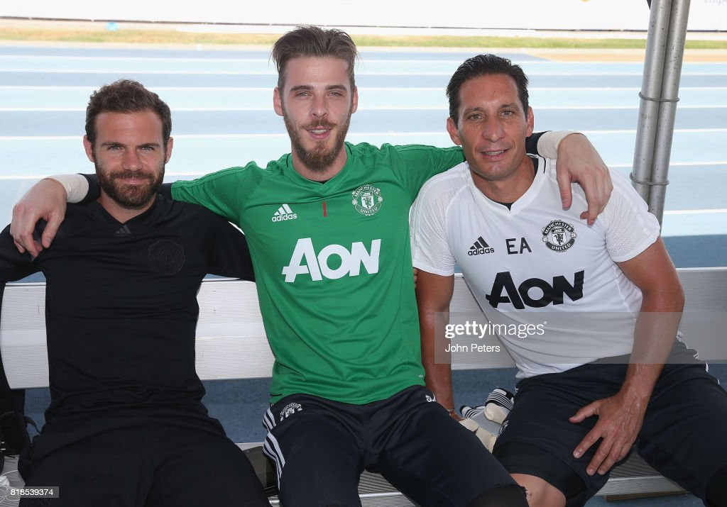 Juan Mata, David de Gea and Coach Emilio Alvarez of Manchester United pose ahead of a first team training session as part of their pre-season tour of the USA at UCLA on July 18, 2017 in Los Angeles, California.