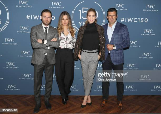 Juan Mata Evelina Kamph Helen Svedin and Luis Figo visit the IWC booth during the Maison's launch of its Jubilee Collection at the Salon...