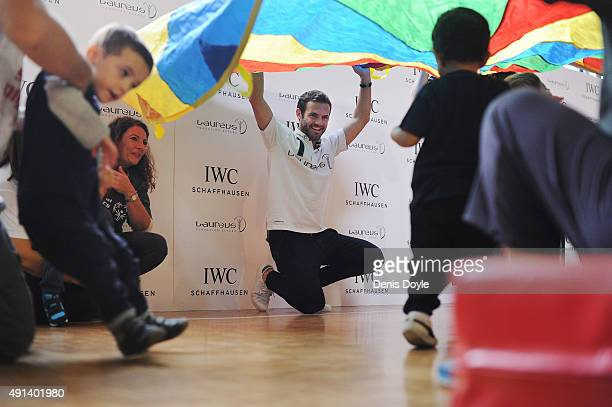 Juan Mata, Laureus and IWC Ambassador shares sporting activities with children from Laureus-supported project Olympics at Colegio Publico de...