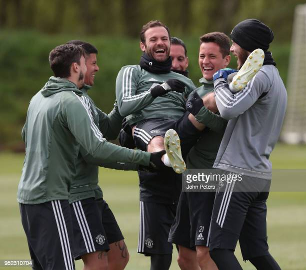 Juan Mata Matteo Darmian Marcos Rojo Ander Herrera and David de Gea of Manchester United in action during a first team training session at Aon...