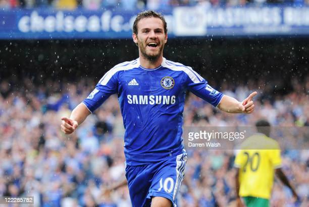 Juan Mata of Chelsea celebrates after scoring during the Barclays Premier League match between Chelsea and Norwich City at Stamford Bridge on August...