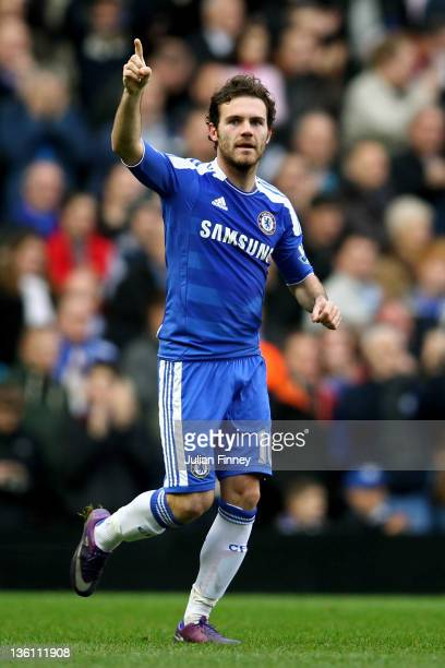 Juan Mata of Chelsea celebrates after scoring the opening goal during the Barclays Premier League match between Chelsea and Fulham at Stamford Bridge...