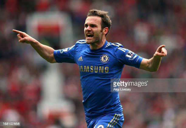 Juan Mata of Chelsea celebrates after scoring the winning goal during the Barclays Premier League match between Manchester United and Chelsea at Old...