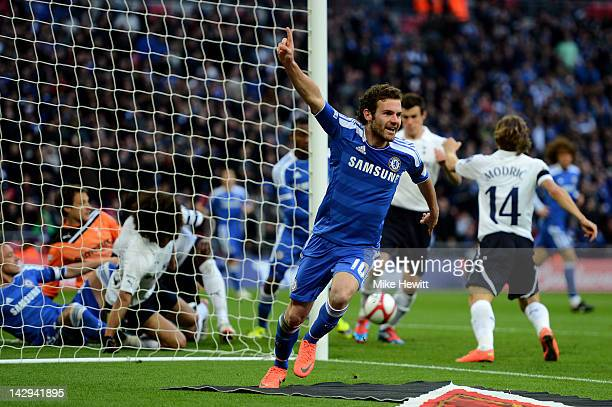 Juan Mata of Chelsea celebrates as he scores their second during the FA Cup with Budweiser Semi Final match between Tottenham Hotspur and Chelsea at...