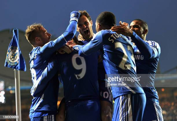 Juan Mata of Chelsea celebrates scoring his side's second goal with team mates Raul Meireles Fernando Torres Daniel Sturridge and Florent Malouda...