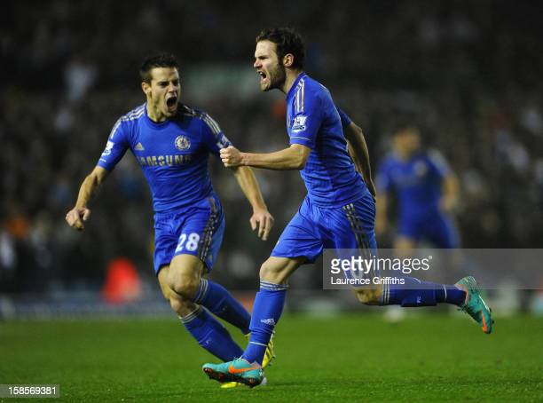 Juan Mata of Chelsea celebrates scoring his team's first goal to make the score 11 with teammate Cesar Azpilicueta during the Capital One Cup...