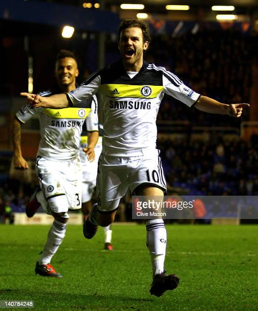 Juan Mata of Chelsea celebrates scoring the opening goal during the FA Cup Fifth Round Replay match between Birmingham City and Chelsea at St Andrews...