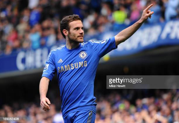 Juan Mata of Chelsea celebrates scoring the opening goal during the Barclays Premier League match between Chelsea and Everton at Stamford Bridge on...