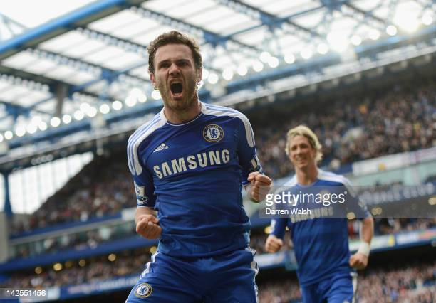 Juan Mata of Chelsea celebrates scoring the winning goal during the Barclays Premier League match between Chelsea and Wigan Athletic at Stamford...