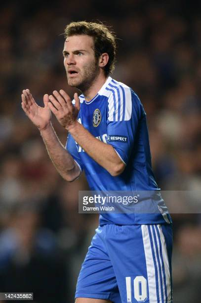 Juan Mata of Chelsea reacts during the UEFA Champions League Quarter Final second leg match between Chelsea FC and SL Benfica at Stamford Bridge on...