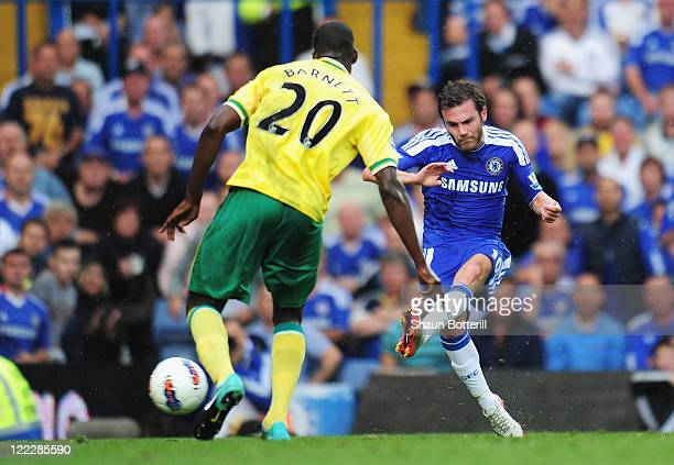 Juan Mata of Chelsea scores during the Barclays Premier League match between Chelsea and Norwich City at Stamford Bridge on August 27 2011 in London...