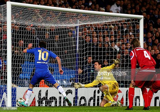 Juan Mata of Chelsea scores his team's fifth goal during the UEFA Champions League group E match between Chelsea and FC Nordsjaelland at Stamford...