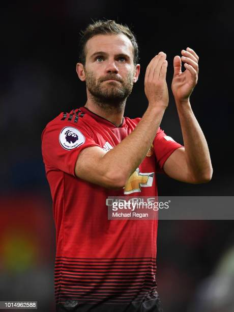 Juan Mata of Machester United gestures during the Premier League match between Manchester United and Leicester City at Old Trafford on August 10 2018...