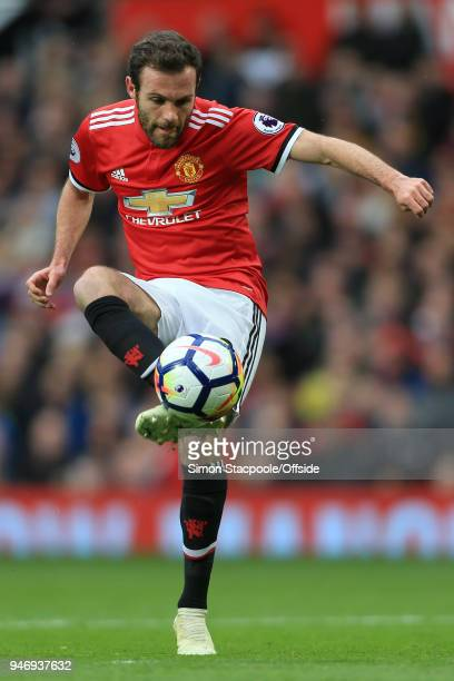 Juan Mata of Man Utd in action during the Premier League match between Manchester United and West Bromwich Albion at Old Trafford on April 15 2018 in...