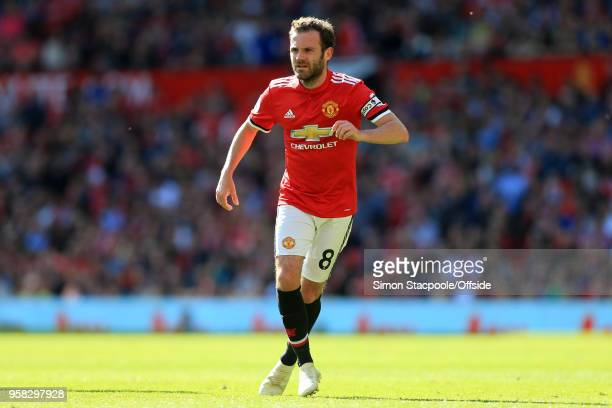 Juan Mata of Man Utd in action during the Premier League match between Manchester United and Watford at Old Trafford on May 13 2018 in Manchester...