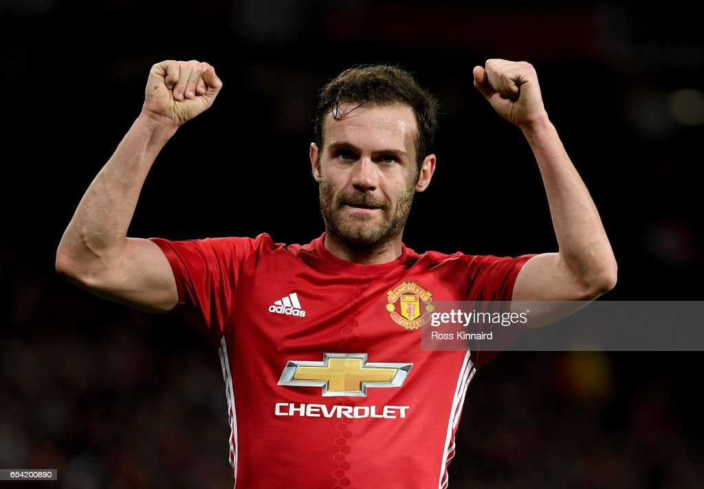 Juan Mata of Manchester celebrates after scoring the opening goal during the UEFA Europa League Round of 16 second leg match between Manchester United and FK Rostov at Old Trafford on March 16, 2017 in Manchester, United Kingdom.