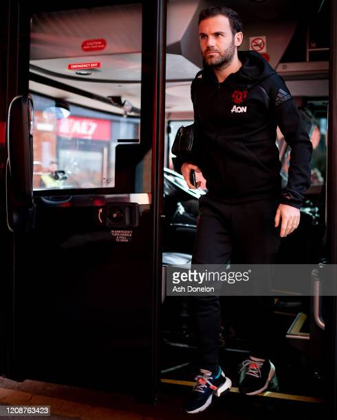 Juan Mata of Manchester United arrives ahead of the Premier League match between Manchester United and Watford FC at Old Trafford on February 23 2020...