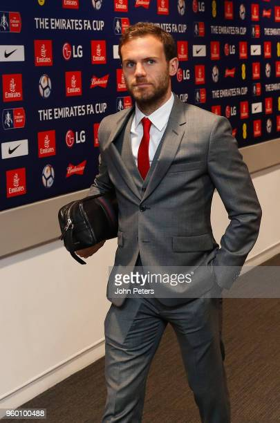 Juan Mata of Manchester United arrives at Wembley ahead of the Emirates FA Cup Final match between Manchester United and Chelsea at Wembley Stadium...