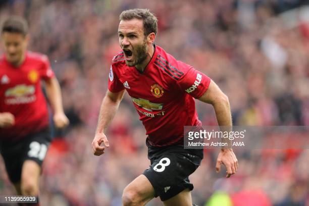 Juan Mata of Manchester United celebrates after scoring a goal to make it 1-0 during the Premier League match between Manchester United and Chelsea...
