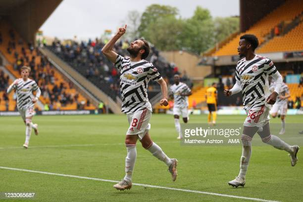 Juan Mata of Manchester United celebrates after scoring a goal to make it 1-2 during the Premier League match between Wolverhampton Wanderers and...