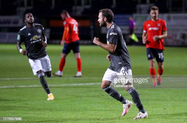 Juan Mata of Manchester United celebrates after scoring his sides first goal during the Carabao Cup Third Round match between Luton Town and...